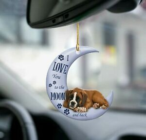Boxer Dog Love Moon Car Rearview Mirror Hanging Ornament Decoration