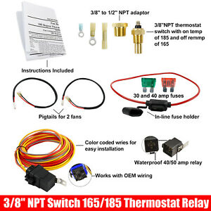 Dual Electric Cooling Fan Wiring Install Kit 185 165 Thermostat 40amp 12v Relay