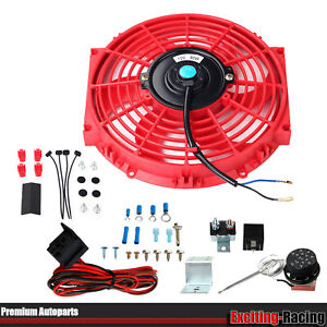 10 Universal Cooling Fan 30 Inch Thermostat Control Auto Relay Wire Kit Red