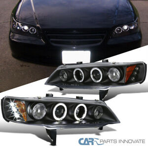 For 94 97 Honda Accord 2 4dr Led Dual Halo Projector Black Headlights Lamps Pair
