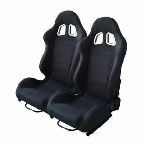 A Pair Of Universal Car Racing Seats Suede Leather Reclinable Bucket W Sliders