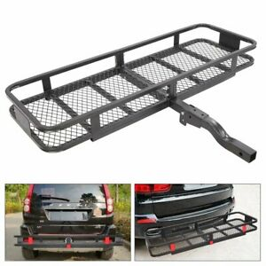 Folding Rack Cargo Basket Trailer Hitch Mount Luggage Carrier For Car Suv 500lb