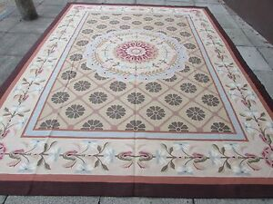 Old Hand Made French Design Wool Beige Green Original Aubusson 363x277cm