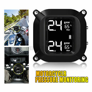 Wireless Lcd Motorcycle Tpms Tire Pressure Monitor Systems 2 Sensors Us