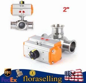 2 Pneumatic Sanitary Ball Valve 316 Stainless 3 way Clamp Connection T Type Us