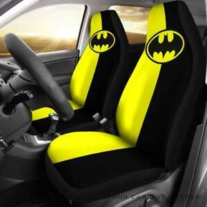 New Car Seat Cover For Yellow Black Batman Seat Protector Universal Fit 2pcs