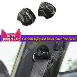 Carbon Car Seats Safety Belt Button Cover Trim Frame For Ford Mustang 2015 2021