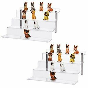 Acrylic Display Riser Stand 4 Steps Clear Display Stand Shelf For 2 Pack