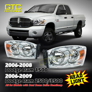 For 2006 2008 Dodge Ram Headlights Replacement Headlamp Chrome Clear Assembly