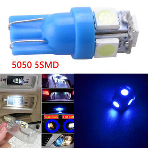 1pcs Blue T10 Wedge 5050 5smd Led Dome Map License Interior Light Bulbs