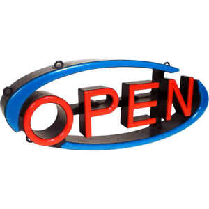 Led Open Swivel Sign With Remote Dual Hanging Option Unique Turning Letters