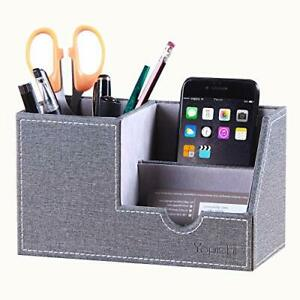 Leather Desk Organizer Office Supplies Caddy With Pen Pencil Holder And Stora