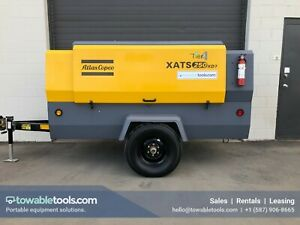 Atlas Copco Xats 250 Cfm Portable Tow Behind Diesel Air Compressor Low Hrs