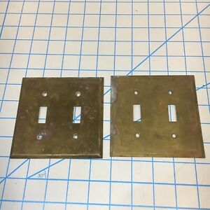 X2 Vintage Brass Light Switch 2 Gang Plate Cover Beveled Edges S2