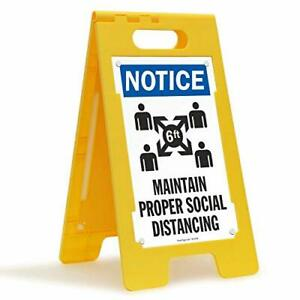 Smartsign Social Distancing Safety Notice Sign Folding Floor Sign 25x12 Inche