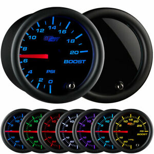 Glowshift Tinted 7 Color 20 Psi Boost Only Gauge Kit 52mm 2 1 16