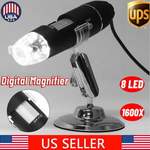 8 Led 1600x Usb Digital Microscope Endoscope Magnifier Video Camera With Stand