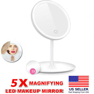 15x Magnifying Lighted Makeup Mirror Tabletop Portable Led Mirror 90 Rotation