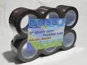 6 Rolls 3 Inch Brown Packing Tape 3 x110 Yards Strong Heavy Duty Adhesive Tapes