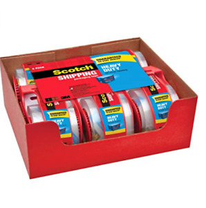 Clear Shipping Packing Tape Heavy Duty Scotch Tape With Dispenser Mailing 6 Pack