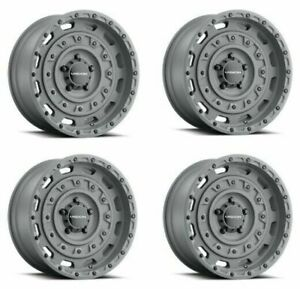 Set 4 17 Vision 403 Tactical Thrashed Gunmetal 17x10 5 5x5 25mm Lifted Truck