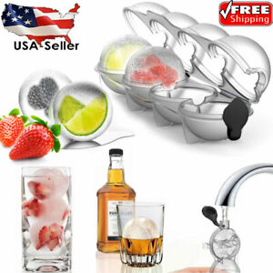 4 Cavity Round Ice Cube Ball Maker Cocktails Whiskey Ice Sphere Mould Bar Party
