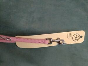 New Bond And Co Pink leather Lead for small Dogs Leash 5ft with rhinestones nwt $12.99