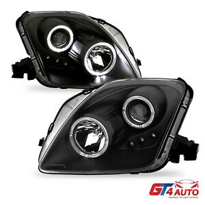 Black Projector Headlights With 2 Led Halo Pair Set For 1997 2001 Honda Prelude
