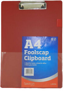 Red Solid A4 Clipboard Clip Board Clipboards With Pen Holder Foolscap