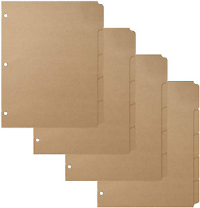 3 Ring Binder Dividers With 5 tabs For Letter Size 1 5 Cut 3 hole Punched X 4