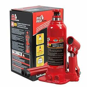 Big Red T90403b Torin Hydraulic Welded Bottle Jack 4 Ton 8000 Lb Capacity Red