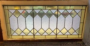 Antique Stained Leaded Glass Transom Window 42 X 19 Circa 1900
