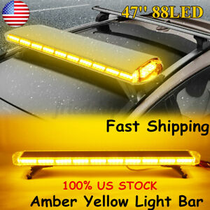 47 88led Flash Warning Strobe Light Bar Amber Yellow Emergency Beacon