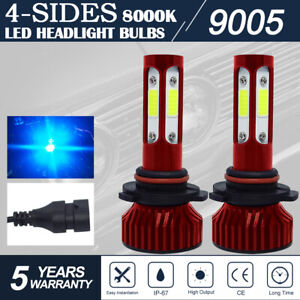 4 side 9005 Hb3 8000k Ice Blue Cob Led Headlight Kit High Low Beam Foglight Bulb