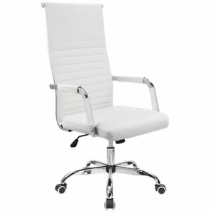 Walnew Ribbed Office Desk Chair High Back Leather Executive Conference Task