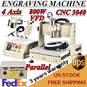 4 Axis 3040 Cnc Router Engraver Engraving Mill Machine Metal Cutter 800w Er11
