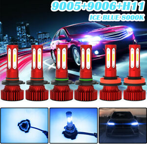 6pcs 9005 9006 H11 Led Combo Headlight Fog Light Kit 8000k Blue Hi lo Beam Bulb