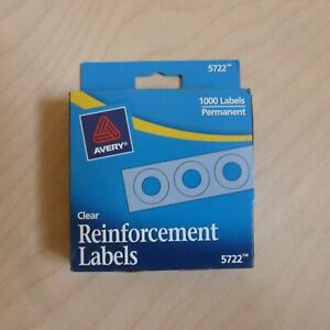 1000 Ct Avery Permanent Reinforcement Labels 1 4 Round Rings Clear Dispenser