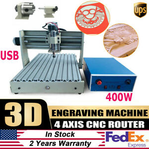 Usb 4 Axis 3040 Cnc Router Engraver Engraving Cutting Drilling Mill Machine 400w