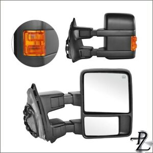 Towing Mirrors 99 07 Ford F 250 F 550 Super Duty Power Heated Amber Signal Pair
