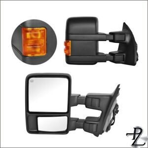 Towing Mirrors 08 16 Ford F 250 F 550 Super Duty Power Heated Amber Signal Pair