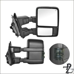 Towing Mirrors 99 07 Ford F 250 550 Super Duty Power Heated Smoke Signal Pair