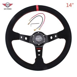 Red 6 Bolt 14350mm Deep Steering Wheel Suede Leather Drifting With Horn Button