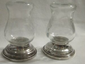 Alvin S270 Sterling And Etched Glass Salt And Pepper Shakers Cement Filled
