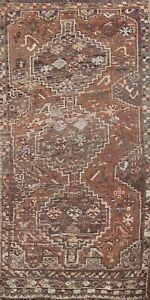 Antique Abadeh Hand Knotted Tribal Area Rug Geometric Oriental Foyer Carpet 3x5