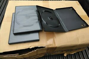 1x Case Lot Of 100 Standard 14mm Black Dvd Cases Single Sided Dual Latch