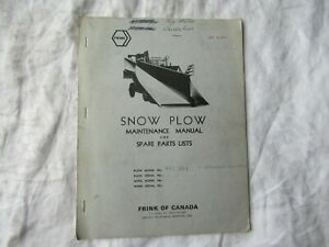 1972 Frink 425 Sk8 Snow Plow Maintenance Service Manual And Parts Catalog