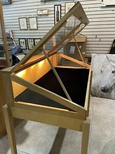Lighted Wooden Display Case Appropriately Used And In Good Condition