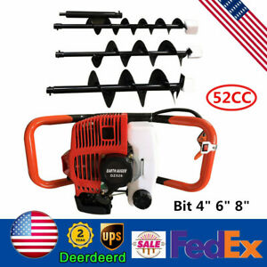 Earth Auger Head Hole Digger Machine 52cc Gasoline Gas Powered Drill 4 6 8 bit