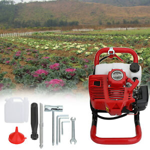 52cc 2 stroke Gasoline Gas One Man Post Hole Digger Earth Auger Machine 2hp Us